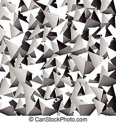 三角形, 分散させる, 向けられた, shapes., grayscale, vector., 抽象的, シャープ
