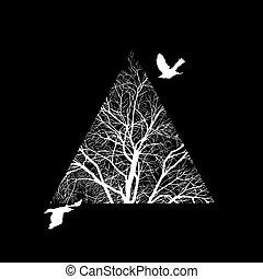 三角形, 刈り込まれた, 木