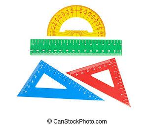 三角形, 学校, 定規, protractor., close-up., 道具