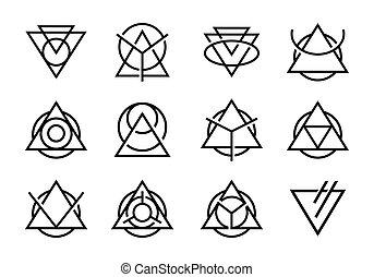 三角形, 抽象的, アイコン, デザイン, コレクション