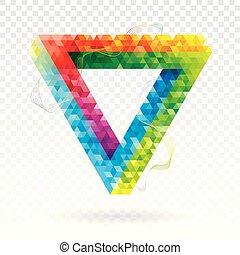 三角形, 抽象的, バックグラウンド。, 色, 幾何学的, 錯覚