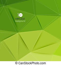 三角形, 抽象的, ベクトル, 緑の背景, 幾何学的
