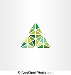 三角形, 抽象的, ベクトル, 緑, 幾何学的, アイコン