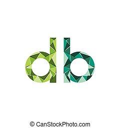 三角形, 抽象的, 頭文字, db, ベクトル, 手紙, ロゴ
