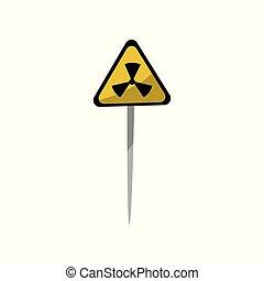 三角形, 放射, 黄色の符号, 環境, ベクトル, イラスト, 背景, 問題, 危険, 警告, 白, 汚染