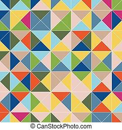 三角形, 有色人種, パターン, 抽象的, ベクトル, 広場, 飾られた, 背景, ピラミッド
