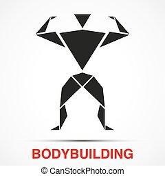 三角形, 测验, 描述, bodybuilder, 矢量, 标识语, man.