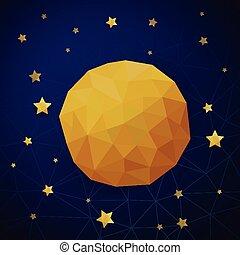 三角形, 背景, 星, 月