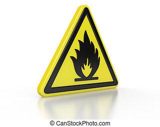 三角形, 警告, 可燃性, 3d, 印
