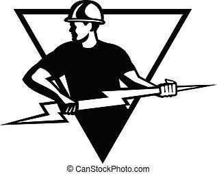 三角形, 黒, 力, ラインマン, 落雷, 白