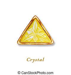 三角形, frame., 金, 水晶, diamond., オブジェクト, 隔離された, 黄色, 手, 水彩画, バックグラウンド。, 贅沢, 引かれる, 白, gemstone., 有色人種