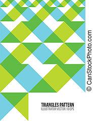 三角形, pattern., 摘要, 鮮艷