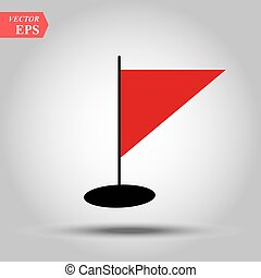 三角, イラスト, 揺れている旗, ベクトル, 赤