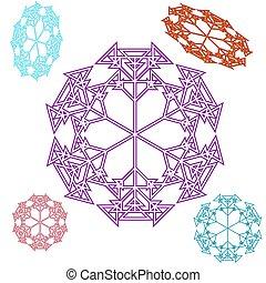 三角, 雪片, 上に, a, 白, バックグラウンド。, 抽象的, 円, 雪片, から, triangles., 美しい, セット, の, 多彩, パターン装飾された, ピンク, 赤, 青, 紫色, ボール, ornament., ベクトル, illustration.