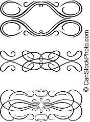 三, 一, 顏色, 巴洛克, curves., 矢量, illustration.