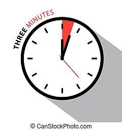 三, 分鐘, clock., stopwatch, countdown., 矢量, 鐘表面, 被隔离, 在懷特上,...