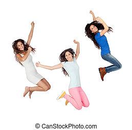 三, 年轻女孩, 跳跃