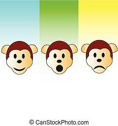 三, 猴子, 頭, 插圖