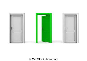 三, 門, -, 灰色, 以及, 綠色, -, 二, 關閉, 一, 打開