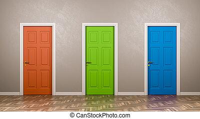三, 關閉, 門, 在, the, 房間
