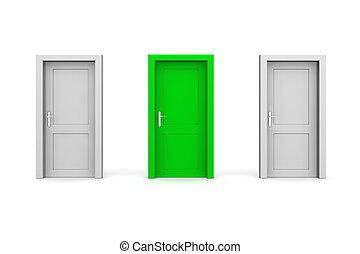 三, 關閉, 門, -, 灰色, 以及, 綠色