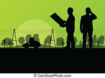 上げられた, 堀る, 掘削機, 労働者, バケツ, サイト, 積込み機, ベクトル, 背景, 建設