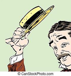 上げられた, 彼の, 紳士, 挨拶, politely, 帽子