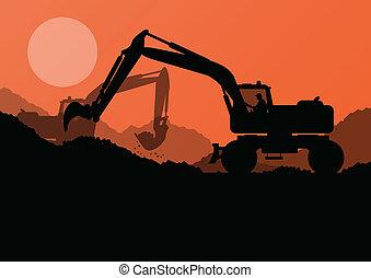 上げられた, 掘削機, バケツ, サイト, 積込み機, ベクトル, 建設