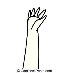 上げられた, 提示, 指, 手