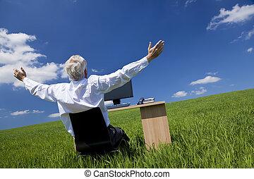 上げられた, 祝う, 腕, フィールド, 緑の机, ビジネスマン
