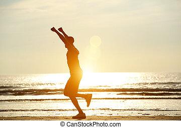 上げられた 腕, 1(人・つ), 動くこと, 浜, 人