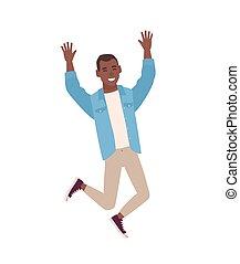 上げられた, 隔離された, 微笑, 偶然, 服を着せられる, 特徴, 若い, バックグラウンド。, 白, 幸せ, 平ら, カラフルである, 喜び, 跳躍, 漫画, hands., 人, illustration., celebrating., ベクトル, 人, マレ, ∥あるいは∥, 衣服