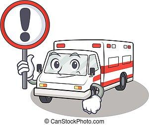 上げられた, 面白い, 印, 救急車, の上, 涼しい