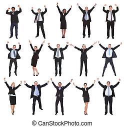 上げること, グループ, 腕, ビジネス 人々
