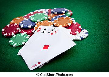 上に, カジノ, 4, 背景, エース, チップ, ポーカー