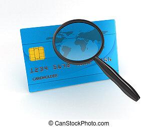 上に, クレジット, 背景, magnifier, 白, カード