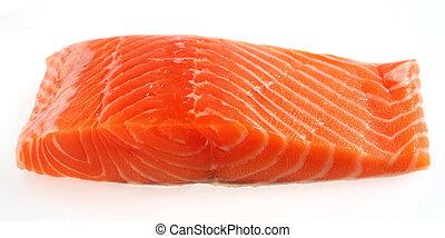 上に, ステーキ, 鮭, 白, フィレ