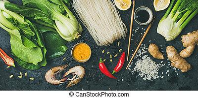 上に, スレート, 光景, 背景, 原料, 上, 石, アジア 料理, 暗い