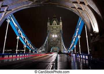 上に, ∥, タワー橋, によって, 夜