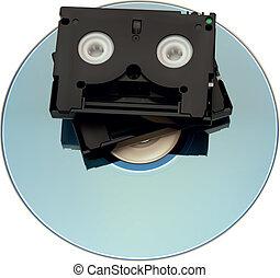上に, テープ, dv, ミニ dvd