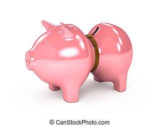上に, バックグラウンド。, 3, 小豚, 白, 銀行