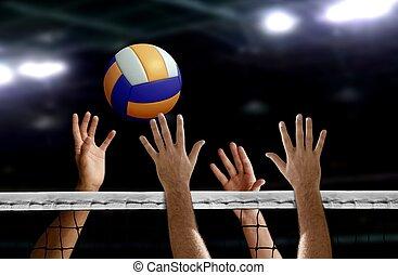上に, バレーボール, 手, スパイク, 網, ブロック
