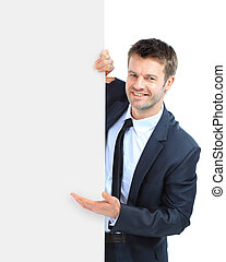 上に, ビジネス, 看板, 提示, 隔離された, 背景, ブランク, 白, 人, 幸せに微笑する