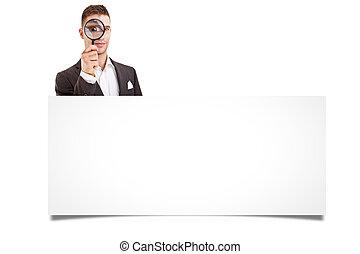 上に, ビジネス, 看板, 提示, 隔離された, 若い, 背景, ブランク, 白, 人, 幸せに微笑する