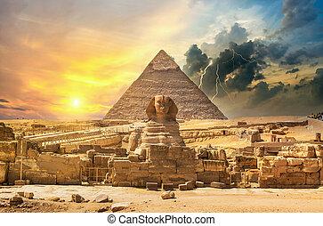 上に, ピラミッド, 稲光