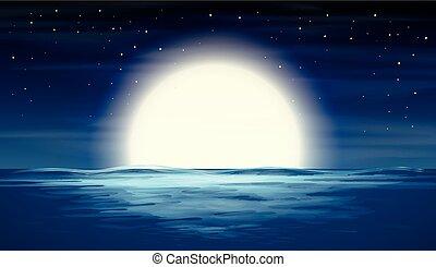 上に, フルである, 海, 月