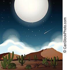 上に, フルである, 現場, 月, 砂漠