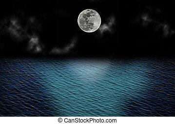 上に, フルである, 雲, 月, 海洋