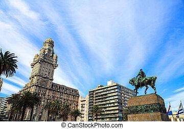 上に, プラザ, モンテビデオ, independencia, 光景
