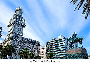 上に, プラザ, 光景, independencia, モンテビデオ